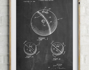 Bowling Ball 1967 Patent Poster, Bowling Decorations, Bowling Party, Sports Art, PP0493