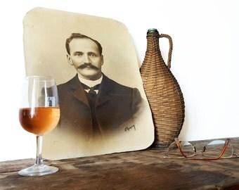 French vintage portrait, Antique Men Portrait Photo Moustache/ French wall decor/ French decor / Hipster decor