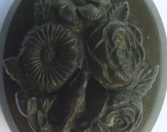 Antique Victorian Vulcanite Brooch
