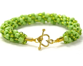 Lime Green Kumihimo Bracelet, Lime Green Beaded Bracelet