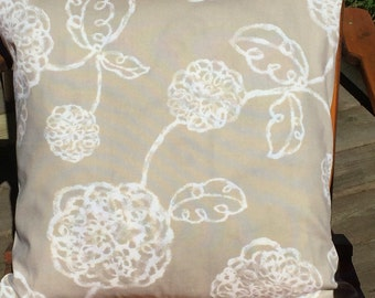 Biege linen fabric with white flowers, 20 inch square pillow cover.
