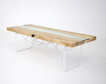 "Live Edge, Natural Edge, Reclaimed, Modern Coffee Table, Coffee Table, Furniture, Steel, Reclaimed, Live Edge Slab ""Yoshi Live Edge"""