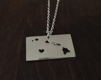 Hawaii Necklace, Hawaii, Hawaii jewelry, Hawaii pendant, silver Hawaii necklace, state necklace, state, necklace, silver necklace