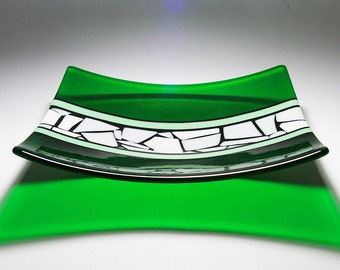 Vibrant Green Feature Platter Fused Glass Art