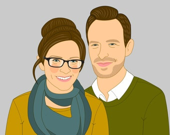 Couple Portrait. Gift for couples. Custom portrait. Custom Illustration. Wedding, Engagement or anniversary gift.