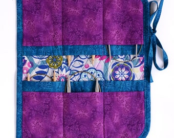Circular Knitting Needle Case  - Teal and purple
