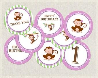 Monkey Polka Dots Cupcake Toppers Birthday Purple Green 1st 2nd 3rd Printable Girls IV-2