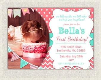 1st Birthday Invitation Coral and Aqua - Girls  / Coral birthday Invite Printable / First birthday / Girls 1st birthday Invitation (63)