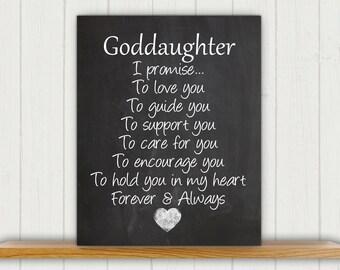 Goddaughter Nursery Art Print, Perfect Christening / Baptism Gift for Goddaughter