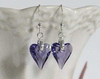 Swarovski Crystal Heart Earrings, Crystal Heart, Purple Crystal Earrings, Crystal Heart Earrings, Purple Heart Earrings, Purple Earrings