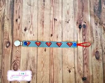 Soothie Pacifier Holder--Chevron Superman