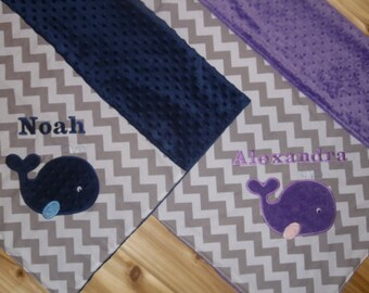 Twin Blanket Gift Set - Whales -Gray Chevron & Minky Baby Blanket with Embroidered Whales