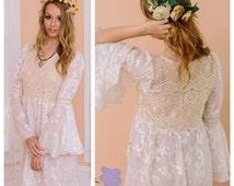 Boho wedding dress, reception dress, bridal shower dress, hippie wedding dress, casual wedding dress, crochet lace dress, velvet burnout