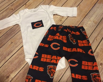 Handmade Chicago Bears Cotton Pants & Matching Bodysuit Baby or Toddler Set, Chicago Bears Pant Set,