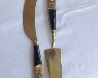 Vintage Brass and Wood Handled Siam Buddha Dessert Knife and Fork, Dessert Servers