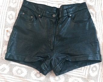 Black Leather Cuffed Shorts