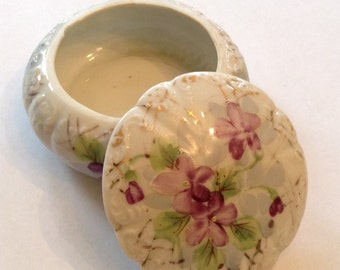 Trinket Keepsake Jewelry Holder Violets Floral Hand Painted Porcelain Collectible Gift