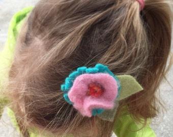 Poppy Felt Flower-Cashmere, Up-cycled Sweater Wool Flower