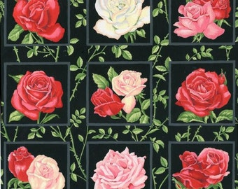 Patchwork Quilting Fabric Nutex Rose Garden Squares