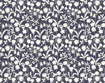 Lewis & Irene Patchwork Quilting Fabric Bluebell Wood A129.3 Nightime (dark navy) floral silhouette