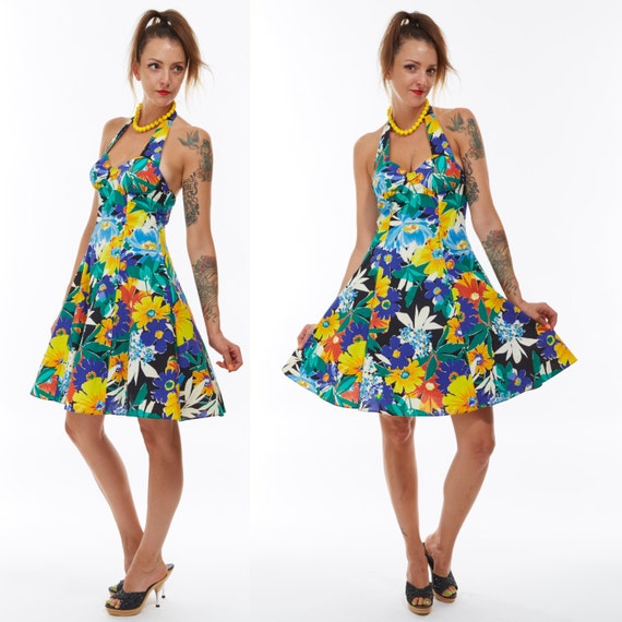 Vtg 80s 90s Cotton Tropical Floral Halter Bustier Top MINI Party DRESS Pin Up Retro A Line Rockabilly Swing Tulle Skirt Kitschy Wiggle