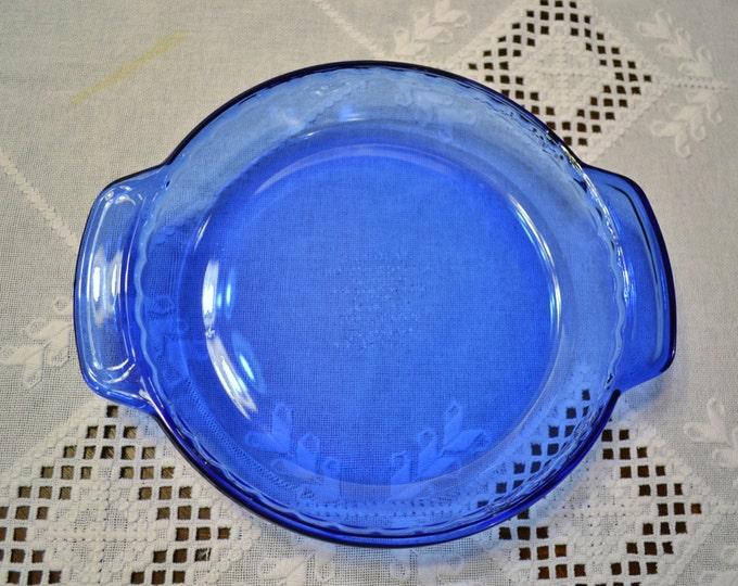 Vintage Cobalt Blue Pie Plate Deep Dish Anchor Hocking Glass Bakeware PanchosPorch