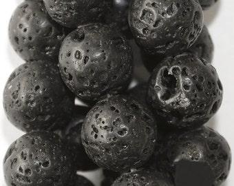 "Volcanic Lava - Round 10 mm Gemstone Beads - Full Strand 15 1/2"", 36 beads, A Quality"