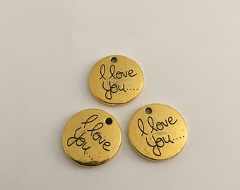 10 pieces  i love you charms 20mm