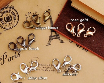 x40pcs 12*5mm Silver tone, gun black, vintage brass,rose gold,golden, shiny silver lobster clasps, Jewelry findings, Necklace components
