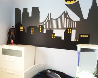 View Gotham City Wall Decals By StunningWalls On Etsy - Vinyl wall decals avengers
