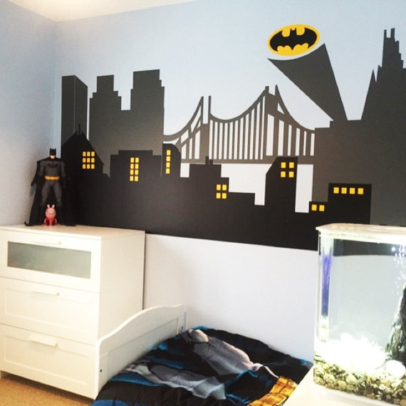 Gotham city wall decal superhero wall decal avengers room for City themed bedroom ideas