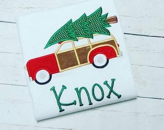 Boy Christmas shirt, Christmas Tree woodgrain car Applique Shirt, boys Embroidered christmas shirt