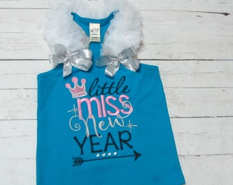 Little Miss New Year ,Little miss 2016 - New Years embroidered shirt