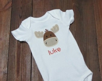 moose Applique Shirt, boys moose shirt - wilderness baby shower gift - little moose baby shower gift