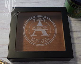 Initial and name on glass top  Cigar Humidor, Personalized Humidor, Personalized Engraved Humidor, Custom Humidor, Glass  & wood Humidor