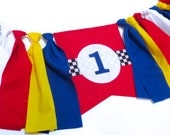 Race Car Birthday Banner Highchair High Chair Racecar Garland Primary Colors Red Yellow Blue Racing Cars One First Cake Smash Photo Prop