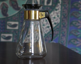 Corning Retro Gold Starburst Coffee Carafe Beverage Pitcher