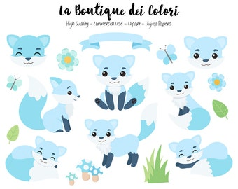 Blue Fox Clipart, Cute Digital Graphics PNG, Boy Foxes, Autumn, Forest, Woodland Animals Clip art, Planner Stickers Commercial Use