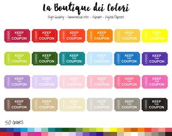 50 Rainbow Vintage Coupon Ticket Clipart, Cute Digital Graphics PNG, sale, Discount, Traditional Coupon Planner Stickers Clip art