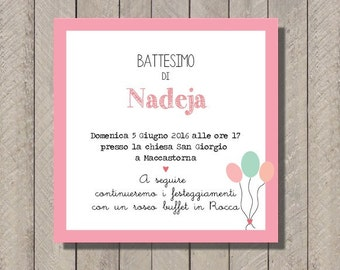 PDF, Baptism invitation card with bunting, printable custom birthday invititation- baby shower diy