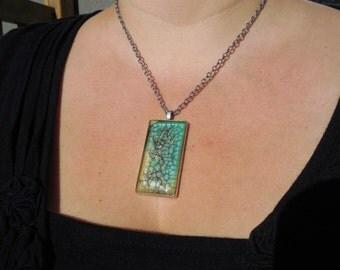 Turquoise rectangular pendant, aqua pendant, teal pendant with chain