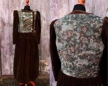 Dirndl, Velvet, Tudor Dress,Austrian Dress,Folk Dress,Velvet Dress, Dirndl Dress,Reenactment,Size L dress