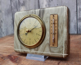 Vintage 60s mother of pearl weather station, barometer, thermometer, made in Germany