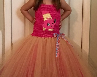 Shopkins inspired tutu dress, lipstick, newborn to 4