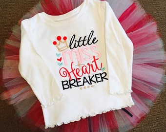 Little Miss Heartbreaker, Valentine's Day shirt or  top and tutu set