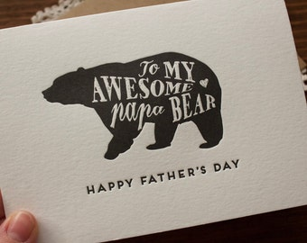Papa Bear Father's Day Card - Letterpress