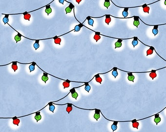 One Yard Peanuts - Christmas Time - Christmas Lights in Blue - Snoopy Cotton Quilt Fabric - Quilting Treasures - 22156-B (W3116)