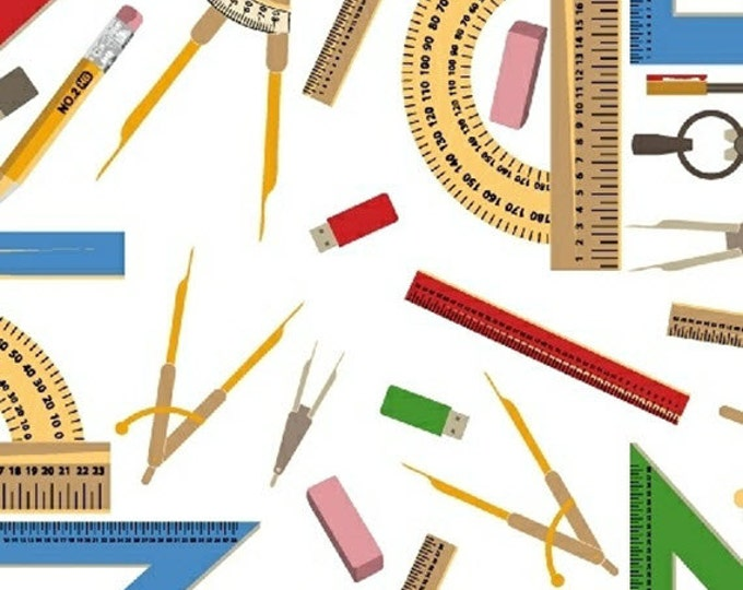 One Yard Educators - Rulers and Protractors in White - Cotton Quilt or Sewing Fabric - Windham Fabrics - 39022-2 (W3084)