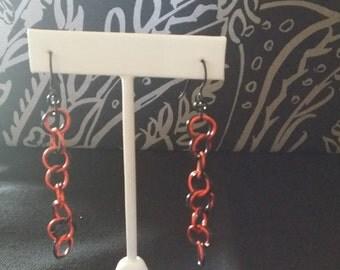 Orange and Black Chainmail Earrings