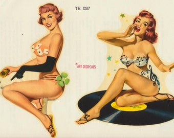 Pin-up water decal pair featuring Lady Luck and Rock and Roll girl